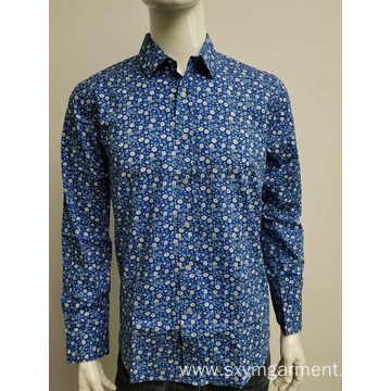 Men's cotton spandex print long sleeve shirt